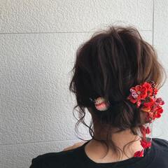 セミロング お祭り ナチュラル シニヨン ヘアスタイルや髪型の写真・画像