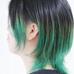 グラデーションカラー ターコイズ グラデーション ナチュラル ヘアスタイルや髪型の写真・画像