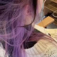 インナーカラー ストリート ブリーチオンカラー ラベンダーピンク ヘアスタイルや髪型の写真・画像