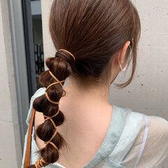 ナチュラル 紐アレンジ セミロング ヘアアレンジ ヘアスタイルや髪型の写真・画像
