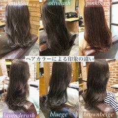 シアー ロング イルミナカラー アッシュグレージュ ヘアスタイルや髪型の写真・画像