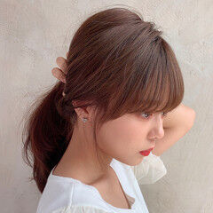 後れ毛 モテ髪 セミロング 小顔ヘア ヘアスタイルや髪型の写真・画像