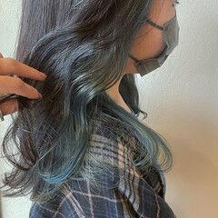 ブルージュ ストリート インナーブルー ブルー ヘアスタイルや髪型の写真・画像