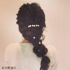 ヘアピン くるりんぱ ヘアアレンジ ロング ヘアスタイルや髪型の写真・画像
