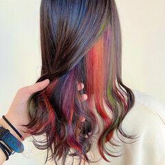 インナーカラーオレンジ インナーピンク インナーカラー インナーカラーパープル ヘアスタイルや髪型の写真・画像