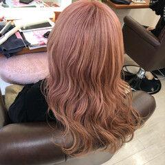 ガーリー ギャル ピンクアッシュ セミロング ヘアスタイルや髪型の写真・画像