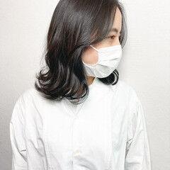 髪質改善 毛先パーマ 大人ミディアム ナチュラル ヘアスタイルや髪型の写真・画像
