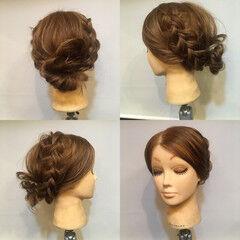 裏編み込み ヘアアレンジ セミロング 結婚式 ヘアスタイルや髪型の写真・画像