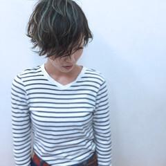 ショート パーマ グラデーションカラー ハイライト ヘアスタイルや髪型の写真・画像