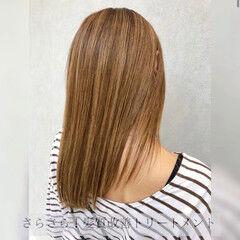 髪質改善 ミディアム ハイライト ナチュラル ヘアスタイルや髪型の写真・画像
