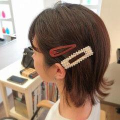 ボブ フェミニン バレッタ デート ヘアスタイルや髪型の写真・画像