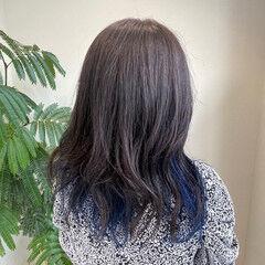 ロング ブルーバイオレット インナーブルー ガーリー ヘアスタイルや髪型の写真・画像