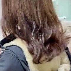 フェミニン スパイラルパーマ 韓国ヘア ミディアム ヘアスタイルや髪型の写真・画像