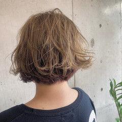 ショート ストリート #インナーカラー 外ハネボブ ヘアスタイルや髪型の写真・画像