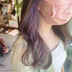 エレガント インナーカラーパープル パープルカラー ロング ヘアスタイルや髪型の写真・画像