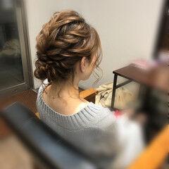 フェミニン ボブ ねじり アップスタイル ヘアスタイルや髪型の写真・画像