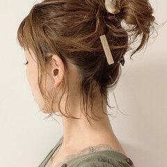 ナチュラル おだんご 簡単ヘアアレンジ ボブ ヘアスタイルや髪型の写真・画像