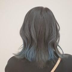 切りっぱなしボブ ショートボブ セミロング グラデーションカラー ヘアスタイルや髪型の写真・画像