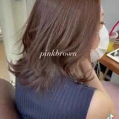 髪質改善トリートメント ピンクブラウン コンサバ ミディアム ヘアスタイルや髪型の写真・画像