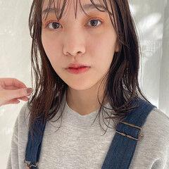 透け透け ロブ 濡れ髪スタイル 透け感ヘア ヘアスタイルや髪型の写真・画像