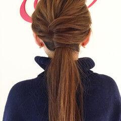 ローポニーテール ロング ショート ヘアアレンジ ヘアスタイルや髪型の写真・画像