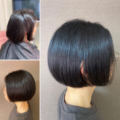 モード ボブ ヘナカラー ショートボブ ヘアスタイルや髪型の写真・画像