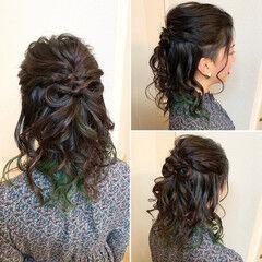 ツーブロック インナーカラー ナチュラル ミディアム ヘアスタイルや髪型の写真・画像
