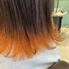 ナチュラル 裾カラー ミディアム オレンジ ヘアスタイルや髪型の写真・画像