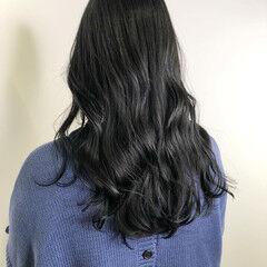 グレージュ ロング ブルーブラック ブルージュ ヘアスタイルや髪型の写真・画像