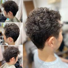 メンズパーマ 薄毛改善 ツーブロック メンズショート ヘアスタイルや髪型の写真・画像