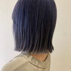 ブルーラベンダー ボブ 切りっぱなしボブ ブルーバイオレット ヘアスタイルや髪型の写真・画像