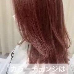 ミディアムヘアー セミロング ピンクカラー ミディアムレイヤー ヘアスタイルや髪型の写真・画像