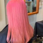 ピンク ブリーチカラー フェミニン コーラル