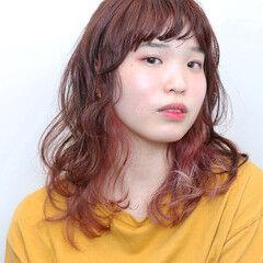 グラデーションカラー インナーカラー ガーリー ピンク ヘアスタイルや髪型の写真・画像