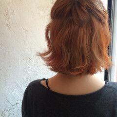 ハイトーン ヘアアレンジ オレンジ コーラル ヘアスタイルや髪型の写真・画像