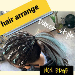 エクステ セミロング 編み込み ストリート ヘアスタイルや髪型の写真・画像