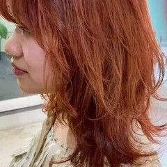 ウルフカット ミディアム 韓国ヘア オレンジベージュ ヘアスタイルや髪型の写真・画像