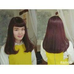 ロング ガーリー パープル 重めバング ヘアスタイルや髪型の写真・画像