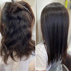 髪質改善カラー フェミニン ロング 髪質改善トリートメント ヘアスタイルや髪型の写真・画像