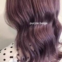 セミロング ラベンダーアッシュ 透明感カラー パープルアッシュ ヘアスタイルや髪型の写真・画像