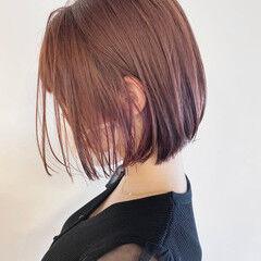 切りっぱなしボブ チェリーレッド チェリー チェリーピンク ヘアスタイルや髪型の写真・画像