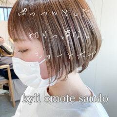 大人かわいい ミニボブ ショート アンニュイほつれヘア ヘアスタイルや髪型の写真・画像