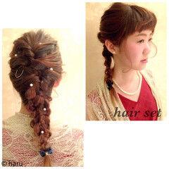 結婚式 ヘアアレンジ 編み込み セミロング ヘアスタイルや髪型の写真・画像