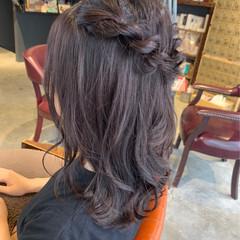 ラベンダーグレージュ ラベンダーカラー ヘアアレンジ ミディアム ヘアスタイルや髪型の写真・画像
