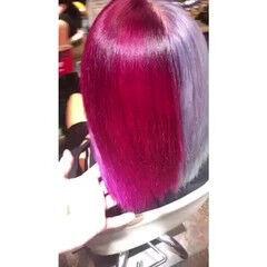 Wカラー メッシュ ガーリー ボブ ヘアスタイルや髪型の写真・画像