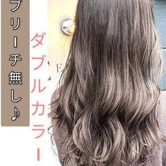 グレージュ ミルクティー 大人かわいい ロング ヘアスタイルや髪型の写真・画像