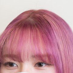 ハイトーンカラー モード デザインカラー ピンク ヘアスタイルや髪型の写真・画像