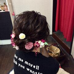 ナチュラル 成人式ヘア セミロング 結婚式ヘアアレンジ ヘアスタイルや髪型の写真・画像