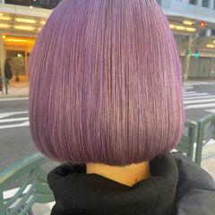 ピンクパープル ラベンダーピンク ホワイトブリーチ ブリーチカラー ヘアスタイルや髪型の写真・画像