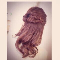 結婚式 ナチュラル ヘアアレンジ フィッシュボーン ヘアスタイルや髪型の写真・画像